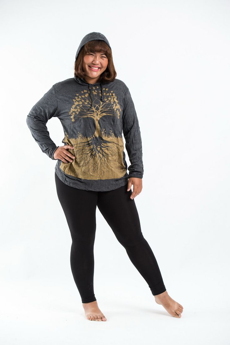 Plus Size Women's Hoodie Tree of Life Gold on Black