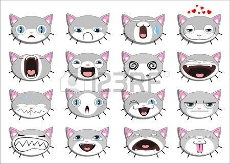 Conjunto de 16 caras sonrientes del gatito. todos agrupados Foto de archivo - 13699554