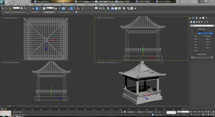3d model of traditional pavilion