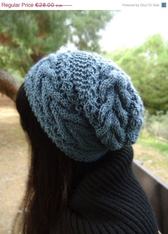 Womens slouchy knit hat hand knit chunky beanie cable knit hat        #knittedhats #womensfashion #winterhats