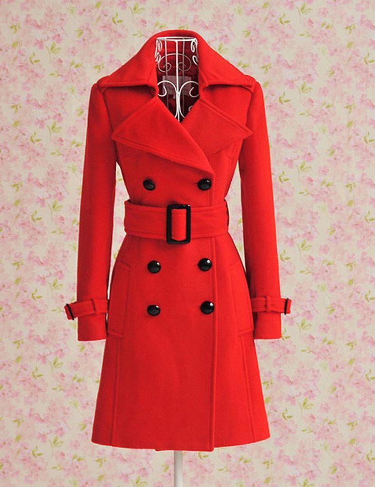 Barato Mulheres Red trespassado lã Trench Coat de lã casaco fino com cinto livre de inverno casaco Classice Trench Coat, Compro Qualidade Lã e Mesclas diretamente de fornecedores da China:    Aviso: nosso tamanho não é padrão AU (EUA, Reino Unido, UE) size. Pls compará-lo  Quando você comprá-lo! se você não