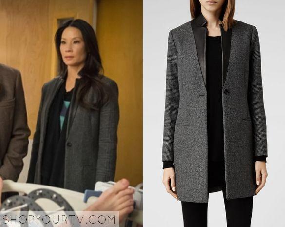 Elementary: Season 3 Episode 19 Joan's Grey Leather Trim Coat