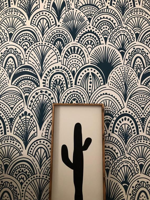 Blue Bohemian Removable Wallpaper Wall Covering Wall Decal Blue Wall Mural Peel And Stick Abstract Wallpaper Modern 125 Wall Wallpaper Removable Wallpaper Abstract Wallpaper