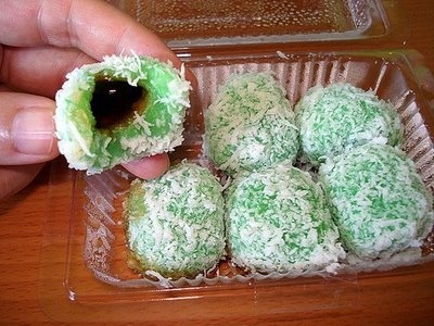 Favorite :) Klepon - Sweet Rice Balls Stuffed with Palm Sugar - indonesian food