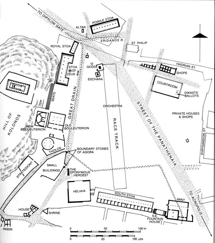 Athenian agora. Archaic through Hellenistic Greek. 600 B.C.E.–150 C.E. Plan.
