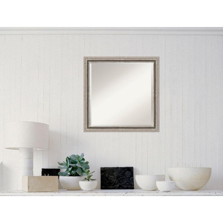 Bel Volto Silver Wood 23 in. W x 23 in. H Contemporary Framed Mirror