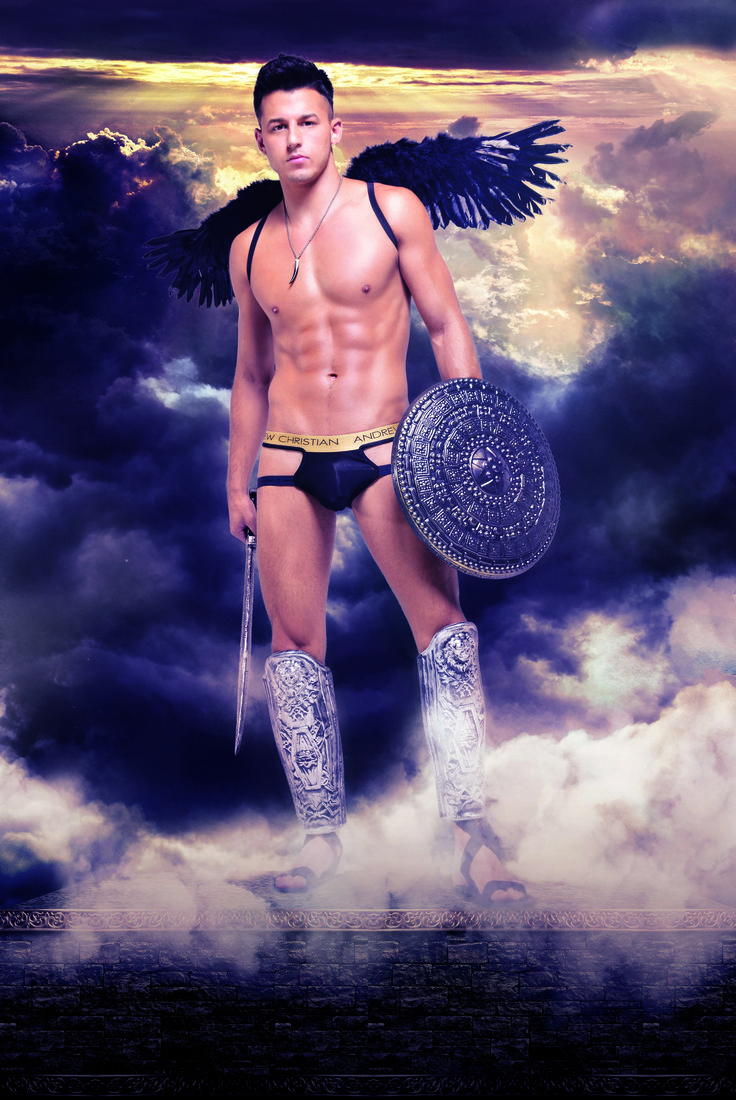 Murray Swanby is a black winged angel #andrewchristian #murrayswanby