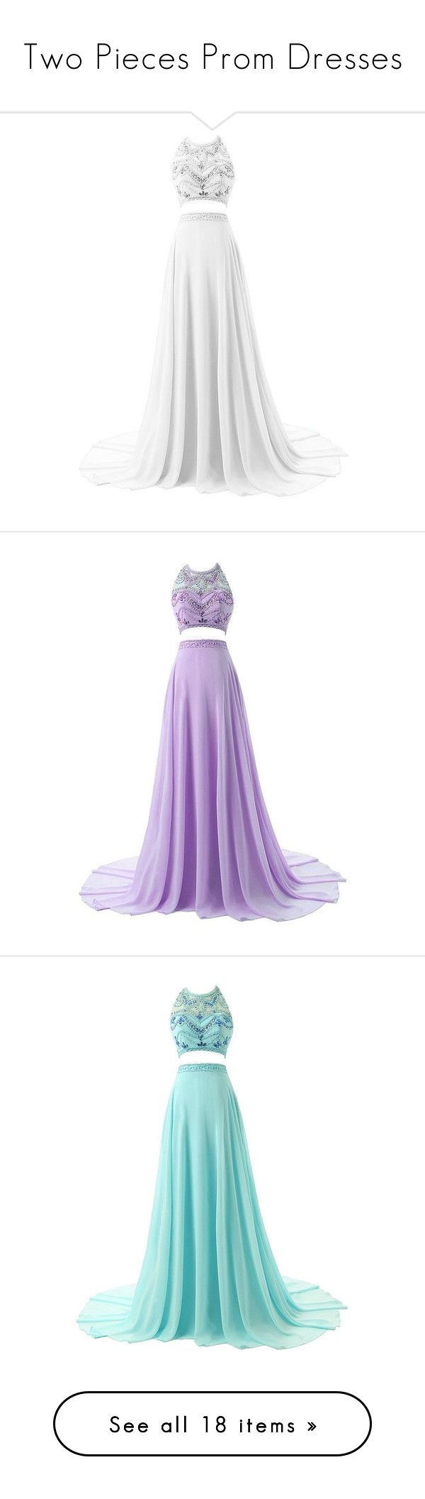 """""""Two Pieces Prom Dresses"""" by sabrinabriones-10 ❤ liked on Polyvore featuring dresses, gowns, vestidos, 2 piece prom dresses, two piece prom dresses, white evening dresses, beaded prom dresses, white prom gown, purple evening dresses and two piece dresses"""