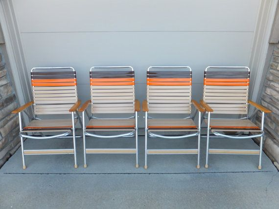 SET Of 4 Vinyl Aluminum Web Lawn Chair,Wood Arms, Mid Century Modern,Porch  Chair,Soccer Chair,Football,Tailgating,Picnic, RV, Vintage, Retro