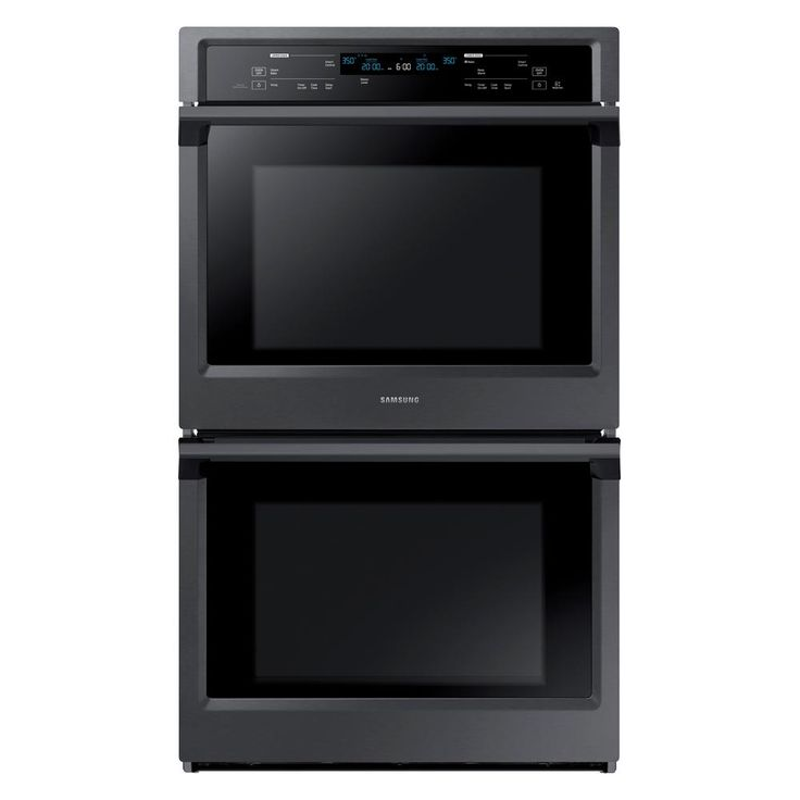 Samsung 30 in. Double Electric Wall Oven Self-Cleaning with Steam Cooking and True Convection in Black Stainless
