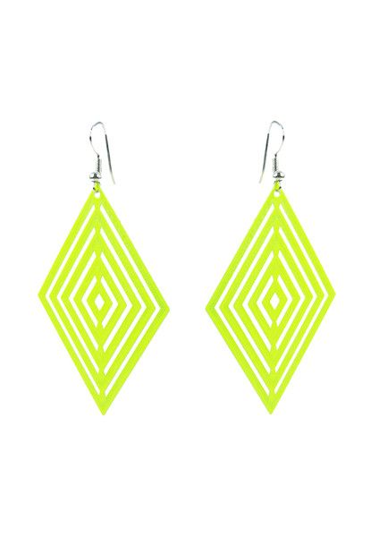 Foil Diamond Earring - Neon Yellow  $9.95 #leethal #accessories #fashion