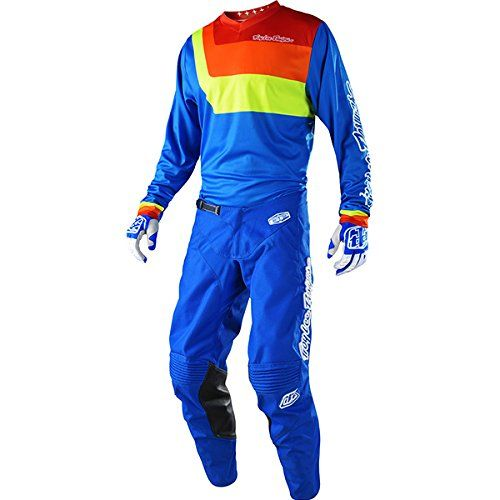 Troy Lee Designs GP Prisma Blue Jersey/ Pant Combo - Size LARGE/ 32W:   Troy Lee Designs 2018 GP Prisma Pants Features: NEW Articulated fit for performance Ratchet closure system for waist Cowhide leather panels on inner knee areas 2-way stretch panels at rear knee, calf and crotch Rear yoke provides added flexibility YKK brand zipper