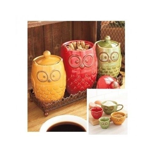 Owl Canister Set Measuring Cup Ceramic 8pc Counter Kitchen