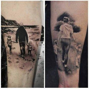 tatuajes de familia para hombres blanco y negro