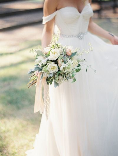 Off-the-shoulder gown: http://www.stylemepretty.com/2014/01/06/romantic-country-montana-wedding-at-the-weatherwood-homestead/ | Photography: Jeremiah & Rachel - http://jeremiahandrachel.com/