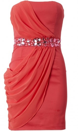 3850 jeweled coral chiffon dress