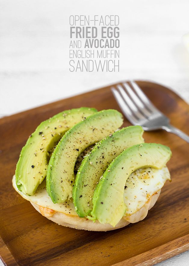 Open-Faced Fried Egg and Avocado English Muffin Sandwich - breakfast made quick, easy, and delicious | www.brighteyedbaker.com