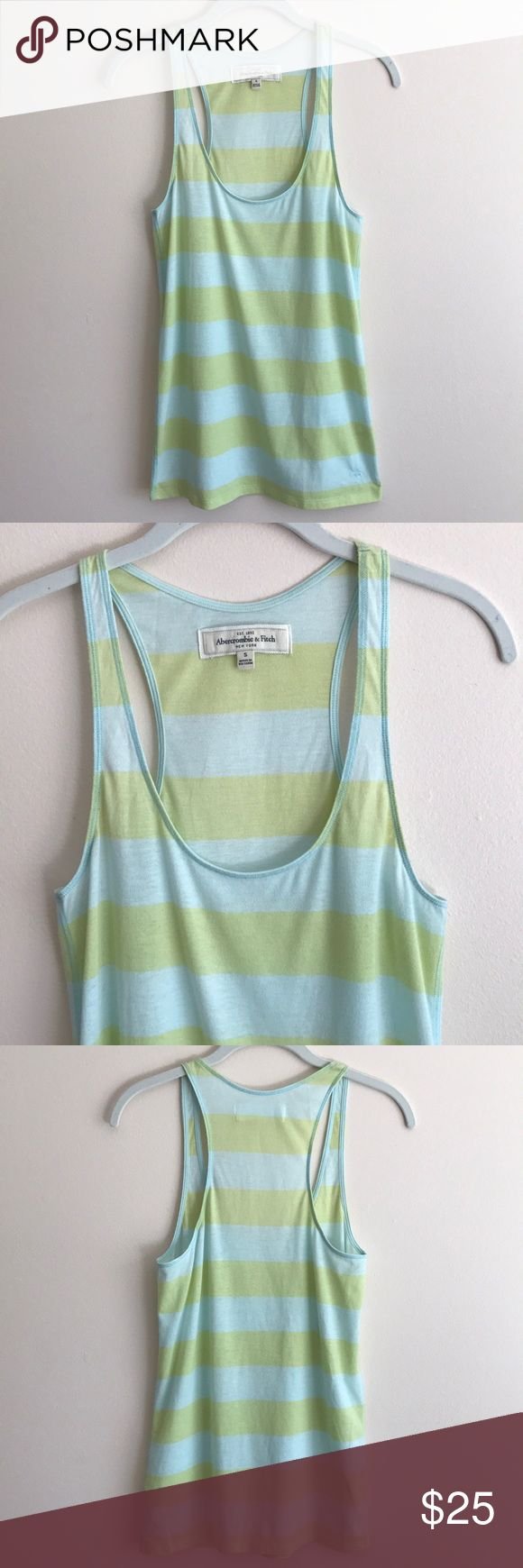 """Abercrombie & Fitch green stripe racerback tank Abercrombie & Fitch lime green/sky blue stripe cotton racerback tank, , slouchy fit, semi-sheer fabric, body length 28"""" - excellent condition lovingly worn a few times Abercrombie & Fitch Tops Tank Tops"""