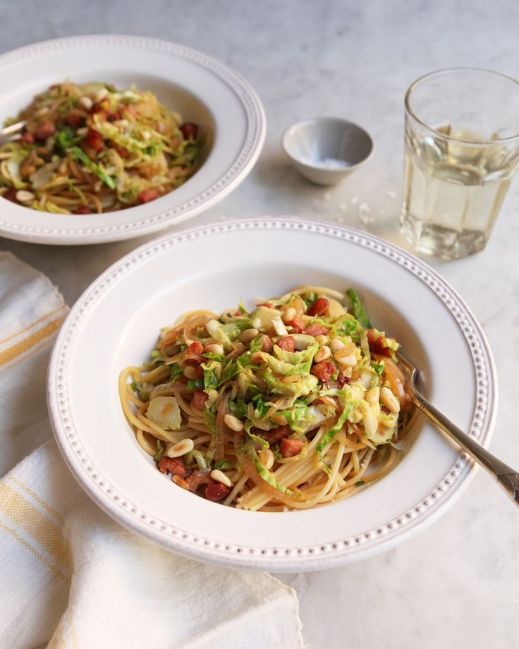 Recipe: Pasta with Shaved Brussels Sprouts and Pancetta — Quick and Easy Weeknight Dinners #recipes #food #kitchen