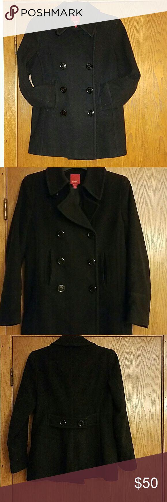 Classic Black Pea Coat Gently used. No flaws. Warm wool coat. Esprit Jackets & Coats Pea Coats