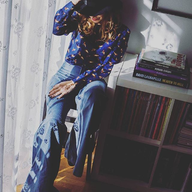 Playful 💥Light.  Ft. The Corduroy bell bottoms in Ciel & the Geese top!  #corduroy #bellbottoms #ciel #blue #geese #patternprint #blouse #winterfashion #fashion #styleinspiration