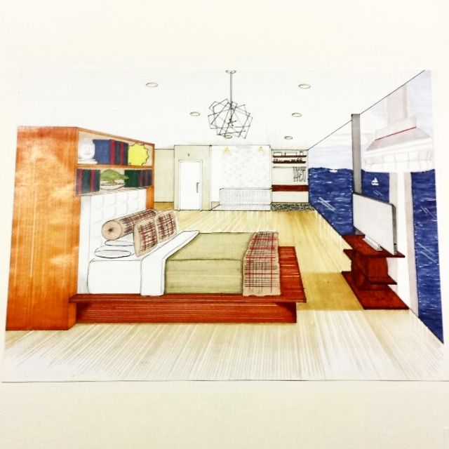 One Point Perspective Open Concept Bedroom/Master Bath (Letraset Twin-tip ProMarkers) #interiordesign #modern #openconcept #promarker #perspective
