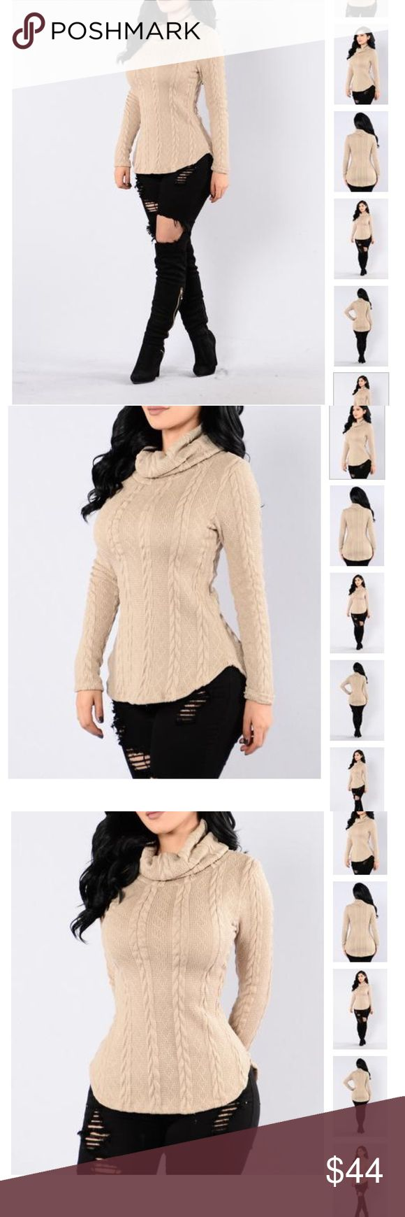 ✨NEW LIST✨ Winter Tan Cowl Neck Sweater Round, high low hem, cowl neck tan sweater. SIZE RUNS BIG!! Best for a curvy small or a medium if you're less curvy but want an extra snug fit. 100% polyester, comfy and beautiful!! New in bag. Sweaters Cowl & Turtlenecks
