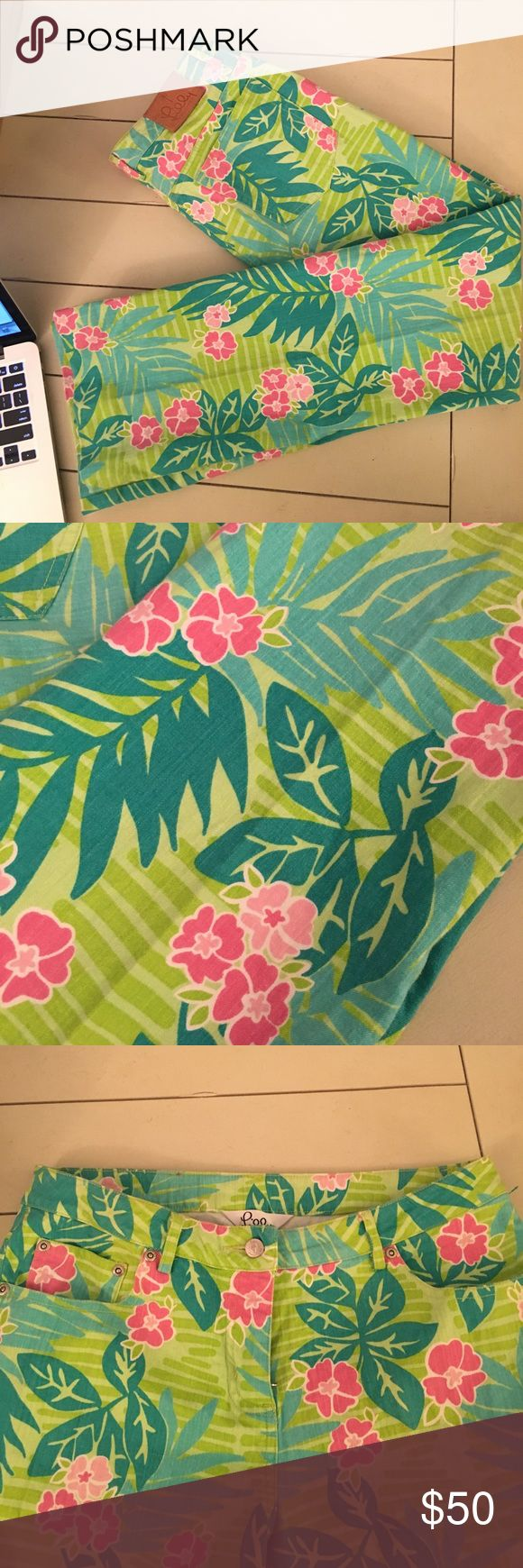 Lilly Pulitzer like new floral print pants Like new Lilly Pulitzer pants. Like Green background  with green and aqua color leaves and pink flowers. Lilly Pulitzer Pants