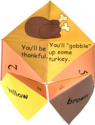 Thanksgiving Fortune Teller.  The kids love to make these.  Instead of 'fortunes' they could put things to be thankful for on them.  Or even scripture citations.