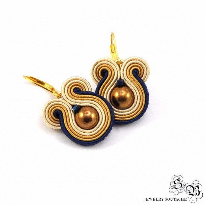 Mini Earrings Soutache, Round Dangle Earrings, Handmade Earrings with hematite, soutache earrings, small earrings soutache,beige/gold/blue by SBjewelrySoutache on Etsy