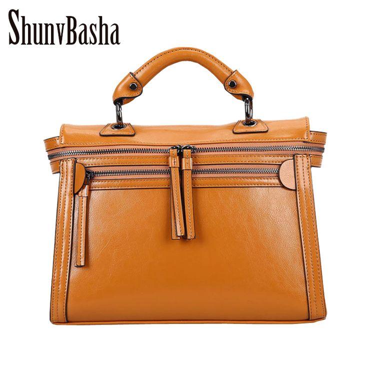 New Fashion Leather Women Handbag Famous Brand Women Shoulder Bag Vintage Solid Zipper Women Tote Bag Messenger bag  #Affiliate