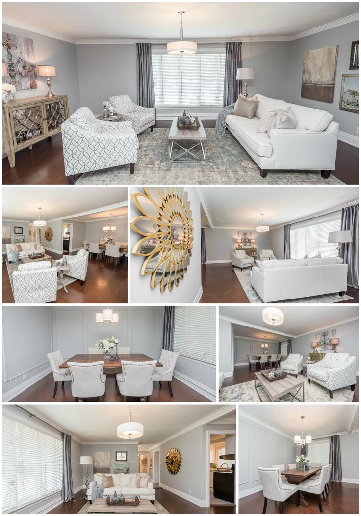 Home Staging - Living Room + Dining Room - #modern #graydecor Staging by Angela McKinnon - Home Dream Designs - Brampton Property for Sale by Paula Mitchell Group