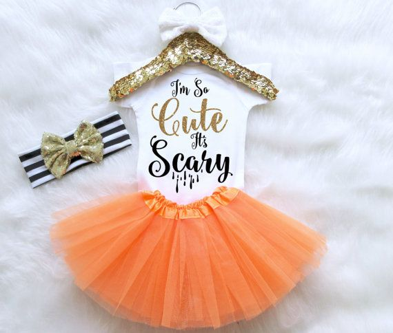 Halloween Baby Girl Outfit Set. Im So Cute It's Scary Outfit. Baby's First Halloween Outfit. Adorable Halloween Outfit Set. Baby Clothes