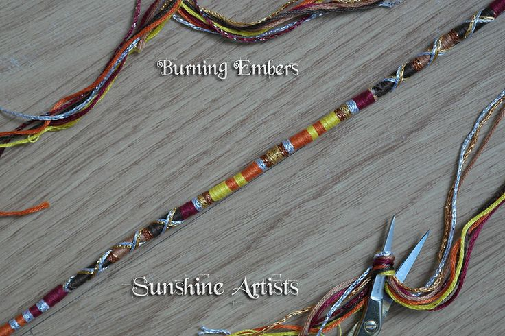 Burning Embers pattern hair wrap, hair braid, hair jewelry - fire colours, deep red, orange, yellow, brown, tan, gold, silver - wooden beads by SunshineArtists on Etsy