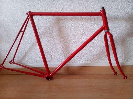 Red frame and fork