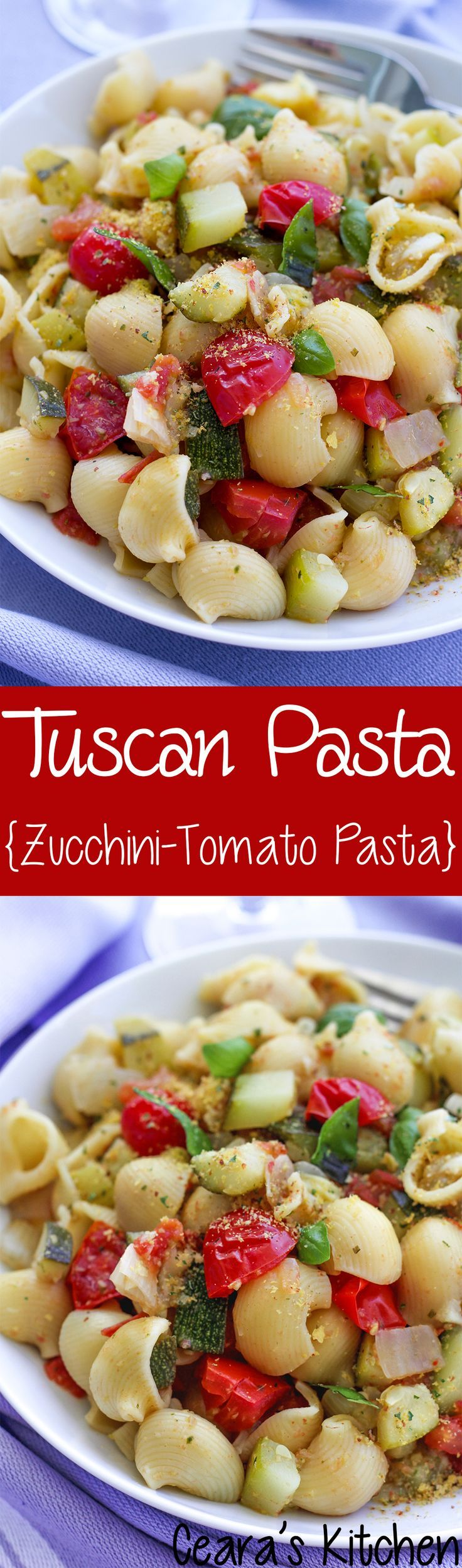 This Tuscan Pasta or Zucchini and Tomato Pasta is based off a pasta dish I whipped up using local ingredients in Italy. I recreated it at home with a simple green olive and basil tapenade. This truly is the perfect simple Summer pasta dish! #pastaeats