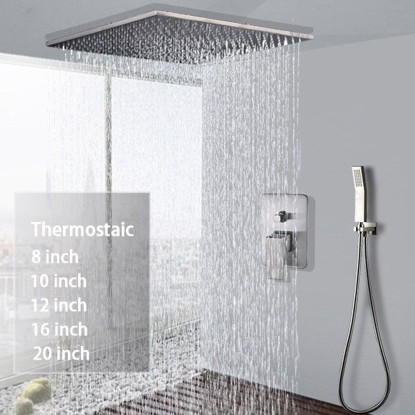 Shower Faucet Combo Set 8 20 Inch Rainfall With Handheld Sprayer