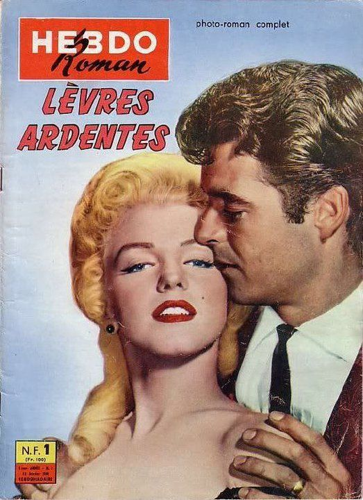 """Hebdo Roman - July 9th 1958, magazine from France. Front cover publicity photo of Marilyn Monroe and Rory Calhoun for """"River of No Return"""" by Frank Powolny, ca.1953-54."""