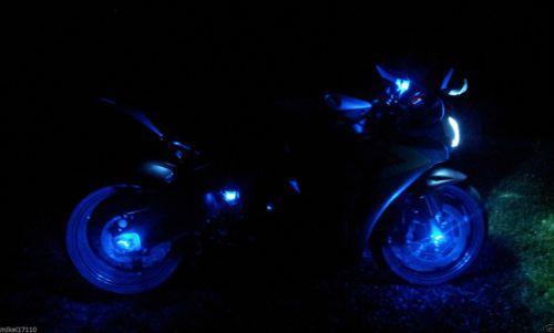 2 Blue LED Motorcycle Accent Under Body Glow Street Bike Light Break Reservoir a