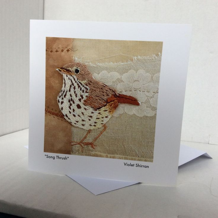 Song Thrush. Greeting card. Hand embroidery. Irish bird series. www.violetshirran.com
