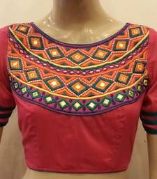 Buy Pink embroidered chanderi silk blouse readymade-blouse online