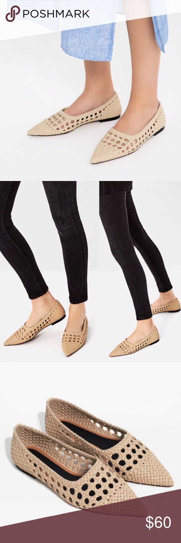 ZARA OPENWORK BALLET FLATS New with tags, no box. Size 38. Flat ecru shoes, braided effect detail, pointed toe. Upper and slipsole: 100% polyurethane, sole: 100% acrylonitrile butadiene styrene. Super adorable Zara Shoes Flats & Loafers