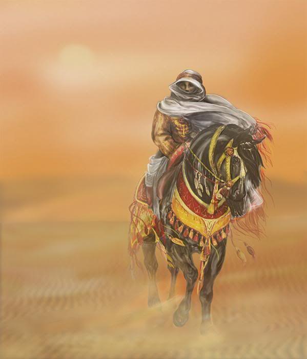 Desert arabian horse bedouin rider cross stitch pattern ...