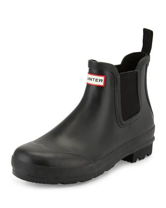 Dark-Sole Chelsea Boot, Black by Hunter Boot at Neiman Marcus.