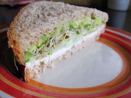 Cucumber cream cheese sandwich, vegetarian sandwich