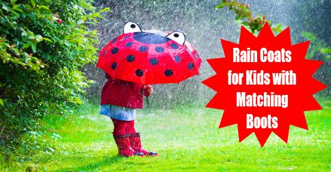 Rain Coats for Kids with Matching Boots are fun and keep them dry and warm. Choose their favorite character and watch them rush to get outside on rainy days.