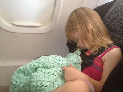 """Flying with a 3 year old - I love that they taught her a """"no crying allowed on airplanes"""" rule!!"""