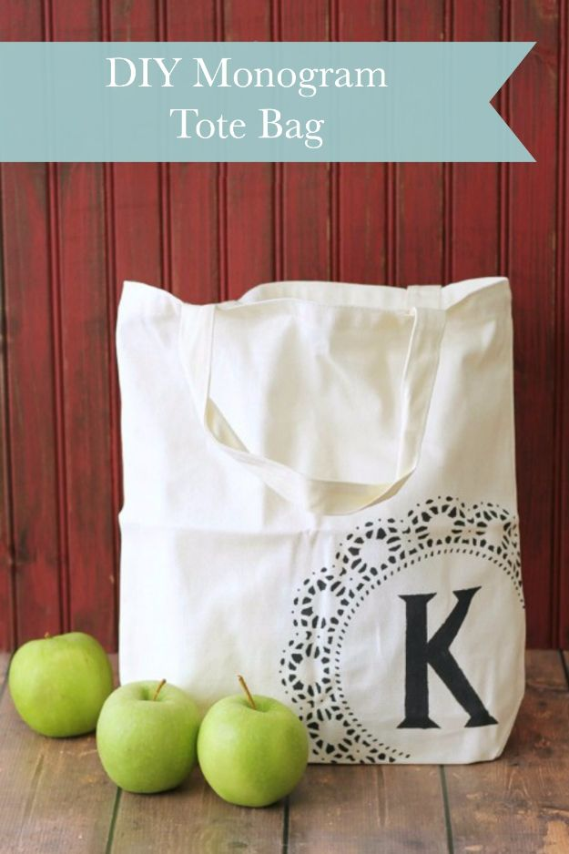 Cheap Crafts To Make and Sell - Monogrammed Tote Bag - Inexpensive Ideas for DIY Craft Projects You Can Make and Sell On Etsy, at Craft…