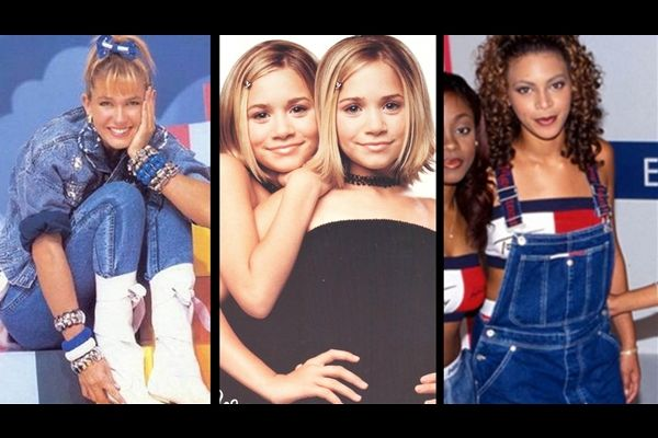 Moda dos anos 90 de volta! Nas fotos, Xuxa com look total jeans; as gêmeas Olsen com a gargantilha de tatuagem; e Beyoncé de macacão! / Fotos: Reprodução