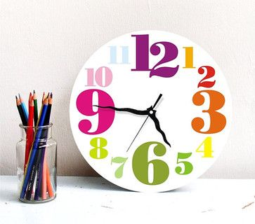 Wall Clock Rainbow Colorful Bright Typography Clock Home Office Clock  Hostess Housewarming Kids Children Decor Gift Under 50
